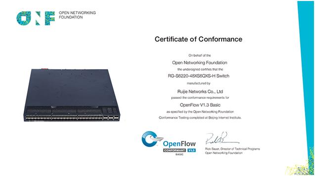锐捷网络RG-S6220-48XS6QXS-H交换机通过ONF OpenFlow v1.3一致性认证